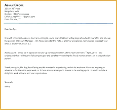 Offer Letter Sample Business Samples Of A Reply Format Job