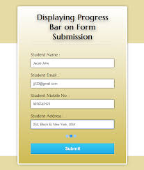 Submit Form Displaying Progress Bar On Form Submission Using Jquery