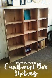 cardboard box shelves are a great diy alternative when you need some storage in your