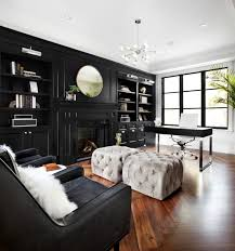 living room with black furniture. Black Furniture: Interior Design Photo Ideas. Accent Wall With The Mirror Is A Living Room Furniture