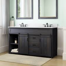 style selections morriston 60 in distressed java double sink bathroom vanity with white engineered stone top