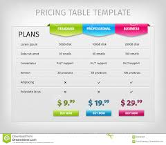 Pricing Table Templates Colorful Web Pricing Table Template For Business Stock