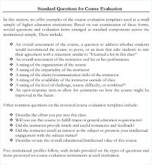 Course Evaluation Template Class Form Word – Bgapps