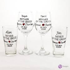 mother father of the bride groom wine beer glass set 4 text heart design personalised hand painted