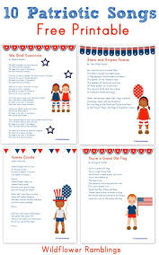 patriotic songs for children printable wildflower ramblings 10 patriotic songs for children printable wildflower ramblings