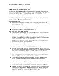 Retail Sales Resume Retail Sales Associate Job Description For Resume 100 Online 44
