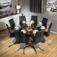 huge round glass top walnut dining table set with 8 black z chairs 601