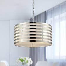 metal drum modern pendant lighting kitchen chrome finish