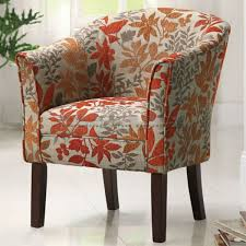 this beautiful coaster red orange leaf print barrel accent chair 460407 is a unique addition to