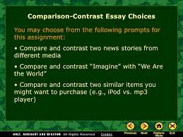 writing workshop writing a compare contrast essay assignment  2 comparison contrast