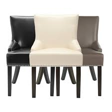 luxurious safavieh loire leather nailhead dining chairs set of 2 free at