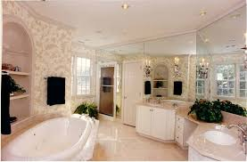 fabulous master bathroom design with attractive wallpaper and full wall mirror plus candle style wall sconces