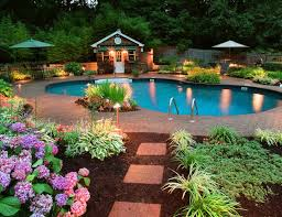 backyard pool and landscaping ideas. contest fabulous backyard with pool great lighting wonderfully done green and floral landscaping ideas o