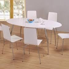 black and white dining room table set round with leaf sets base glossy black modern elegant