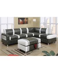 ultra modern two tone faux leather sectional sofa with ottoman gray cream