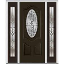 mmi door 64 in x 80 in cadence right hand oval lite decorative
