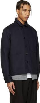acne studios navy media jacket men acne studios more leather jacket usa