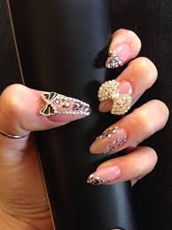 Pointy Nails Designs With Diamonds Pink 3d Leopard Long Pointy Nail Art Nails Crystal Gem