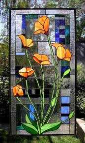 stained glass window panel california poppies blooming art with regard to panels idea 10