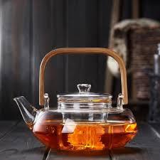 pindefang bamboo handle 800ml blooming loose leaf tea pot with glass strainer safe lid dishwasher