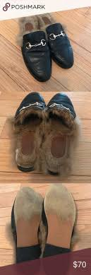 gucci used. gucci princetown fur loafers slides black leather with fur. used but