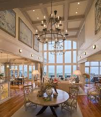 captivating high ceiling chandelier of impressive contemporary dining room with in