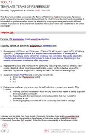 Refrence Template Tool 12 Template Terms Of Reference With Community International