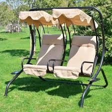 outdoor patio 2 person covered swing chair seat porch loveseat hammock w canopy