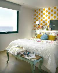 yellow dots bedroom accent wall