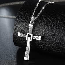 men cross pendant chain long necklace crystal alloy