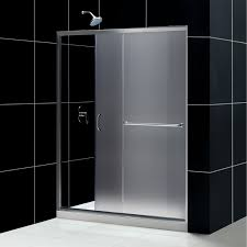 frosted kohler shower doors with rain shower and