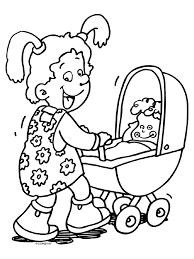 Kleurplaat Meisje Met Haar Poppenwagen Kleurplatennl
