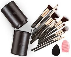 niré beauty 12 makeup brushes set with brush holder and silicone brush cleaner rose golden
