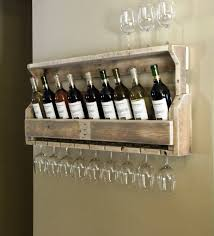 Simple But Cool Wall Mounted Homemade Wine Rack Made From Reclaimed Wood  Pallet With Glass Holder