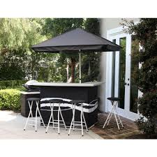 classic black all weather patio bar set with 6 ft umbrella