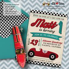Car Birthday Invitations Vintage Red Racing Car Birthday Party Invitations Red Race Car Diy Printable Race Car Invite
