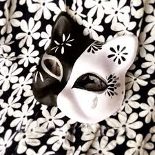 japanese for mask half face hand painted japanese fox mask kitsune black and white