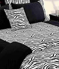swayam black white zebra print bed sheet set