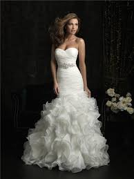 sweetheart organza ruffle fit and flare wedding dress with crystal