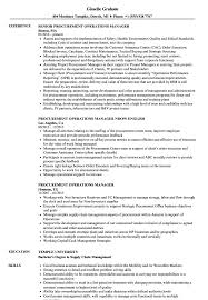 Procurement Operations Manager Resume Samples Velvet Jobs
