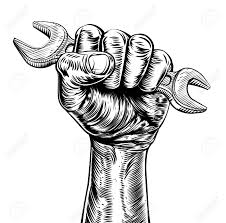 57729137 A vintage etched woodcut style fist holding a spanner or wrench tool Stock Vector plumber logo stock photos images royalty free plumber logo images on plumbing job sheet template
