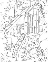 Free Tree House Coloring Pages - Kids Coloring