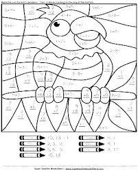 Color By Number Math Worksheets Coloring Addition Worksheet Grade