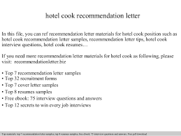 letter for job recommendation hotel cook recommendation letter