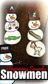 Kids can develop their english and math skills with. Free Beginning Sounds Snowmen
