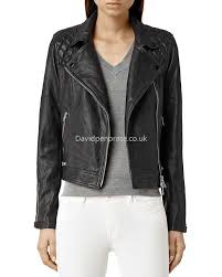 women s moto allsaints classic conroy quilted leather biker jacket in ink blue
