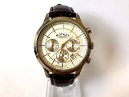 16 rotary mens silver gold two tone watch leather chronograph image is loading 16 rotary mens silver gold two tone watch