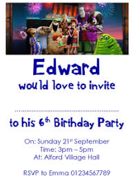 Details About Personalised Photo Paper Card Party Invites Invitations Hotel Transylvania 3