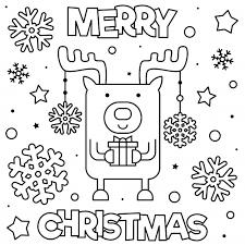 Vrolijk Kerstfeest Kleurplaat Zwart En Wit Vectorillustratie