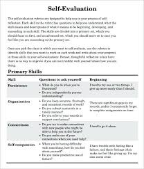 Sample Self Assessment For Employee Form Template Skills Evaluation ...